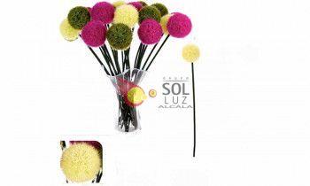Flor bola artificial en color beige