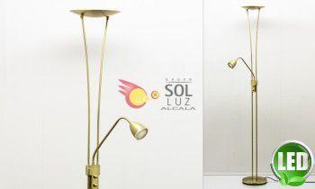 Pie de salón LED regulable en dorado