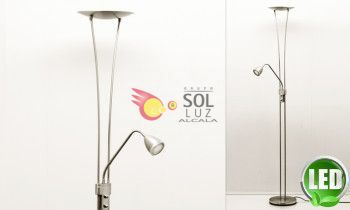 Pie de salón LED regulable en níquel