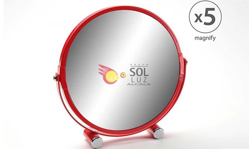 Espejo de baño redondo con 5 aumentos y el borde en color rojo