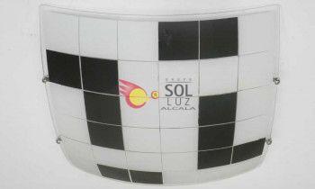 Plafón cuadrado con el cristal decorado con cuadrados en color negro