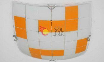 Plafón cuadrado con el cristal decorado con cuadrados en color naranja
