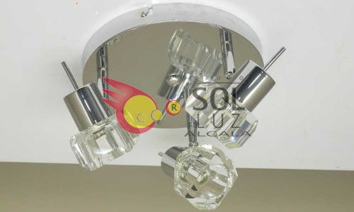 Plafón redondo cromo con tres luces y tulipas de cristal