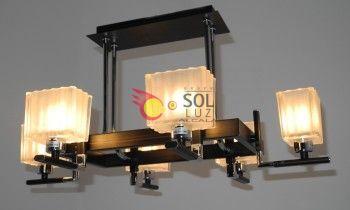 Lámpara techo cromo wengue