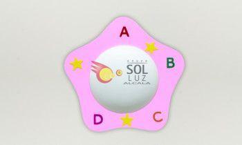 Plafón infantil pentágono A B C D rosa