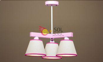 Lámpara infantil de tres luces en color rosa y blanco