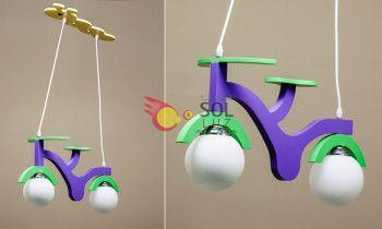 Lámpara infantil con una bici lila