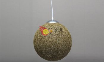 Lámpara bola en fibra de color natural