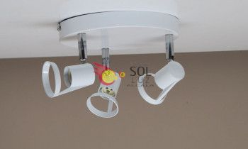 Plafón 3 luces orientables blanco
