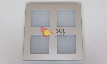 Plafón downlight de superficie cuadrado en plata