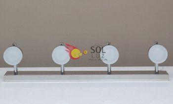 Regleta de focos LED 4 luces en cromo