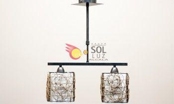Lámpara lineal con 2 luces de ratán