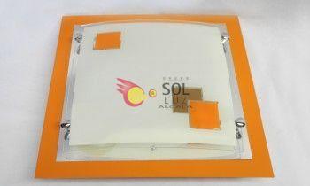 Plafón cristal cuadrado naranja