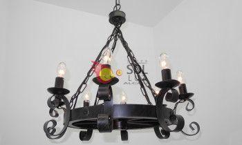 Lámpara rueda de forja y madera