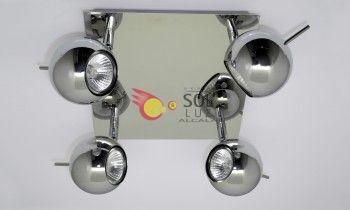 Plafón cuadrado cromo con cuatro luces