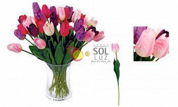 Tulipán artificial en color rosa