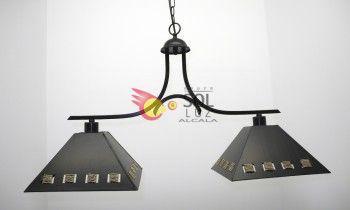 Lámpara de forja con dos luces