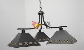 Lámpara de forja con tres luces