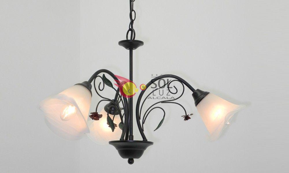 Lámpara de forja marrón