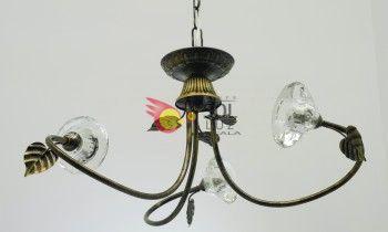 Lámpara en cuero con tres luces