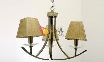 Lámpara cuero de tres luces