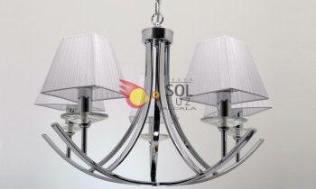 Lámpara cromo con cinco luces