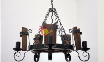 Lámpara de forja cinco luces con tejas