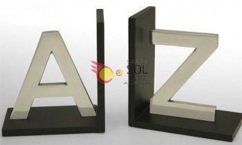 Sujetalibros de aluminio y madera