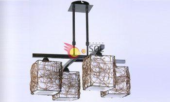 Lámpara de Rattán con 4 luces en cruz