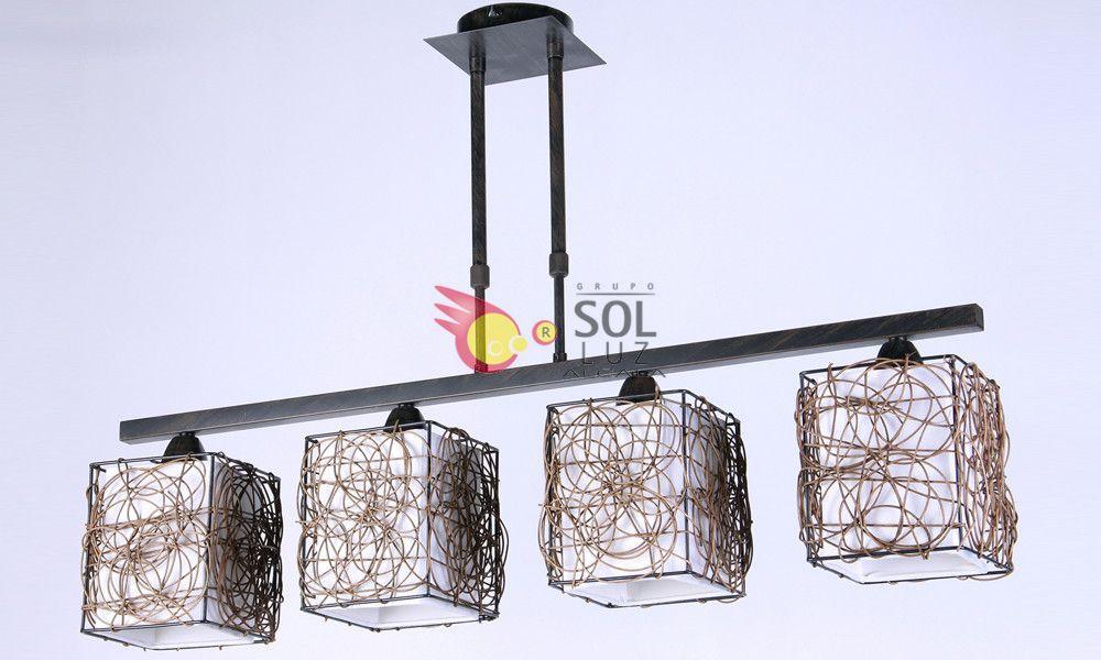 Lámpara de Rattán con 4 luces lineales